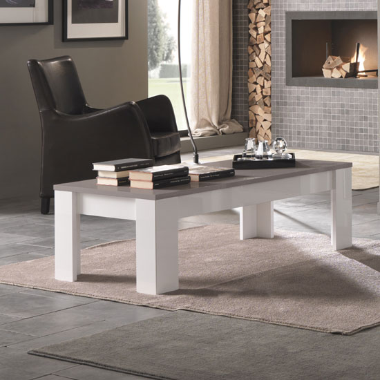 Lorenz Coffee Table Rectangular In White And Grey High Gloss