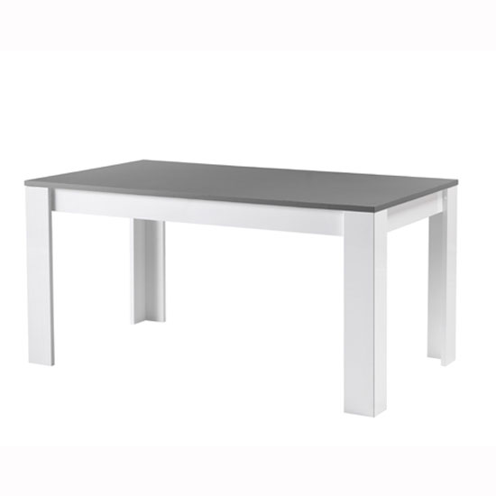 Lorenz Dining Table Rectangular In White And Grey High Gloss