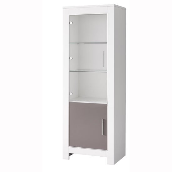 Lorenz Glass Display Cabinet In White And Grey Gloss With LED