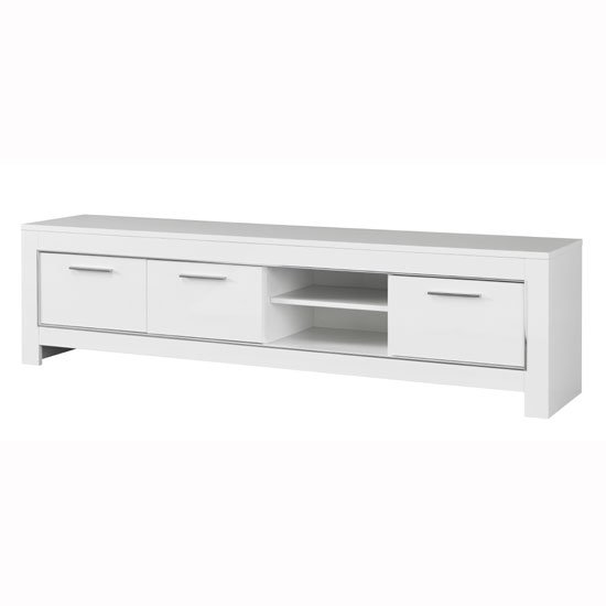Lorenz Large TV Stand In White High Gloss With 3 Doors