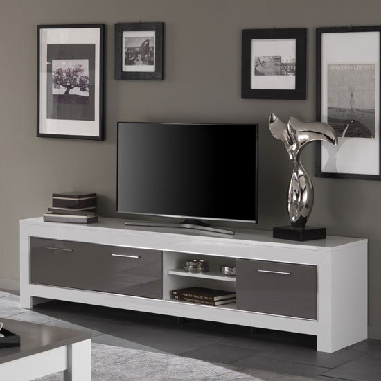 Lorenz Large TV Stand In White And Grey High Gloss