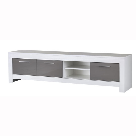 Lorenz Large TV Stand In White And Grey High Gloss_2