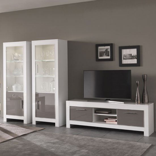 Lorenz Glass Display Cabinet In White And Grey Gloss With LED_2