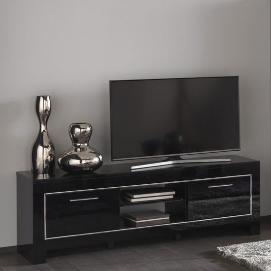 Lorenz Medium TV Stand In Black High Gloss With 2 Doors_1