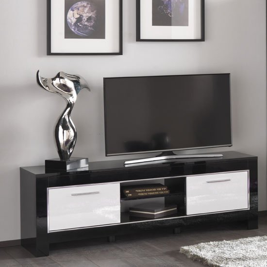 Lorenz Medium Tv Stand In Black And White High Gloss With 2