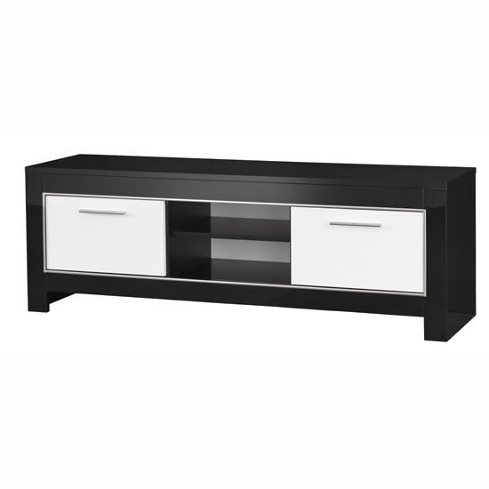 Lorenz Medium TV Stand In Black And White High Gloss With 2 Door_2