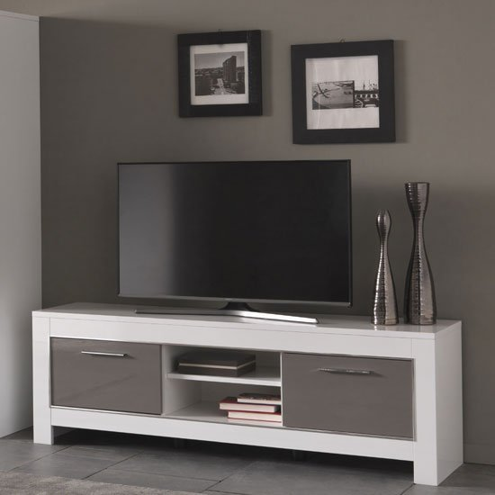 Lorenz Medium TV Stand In White And Grey High Gloss_1
