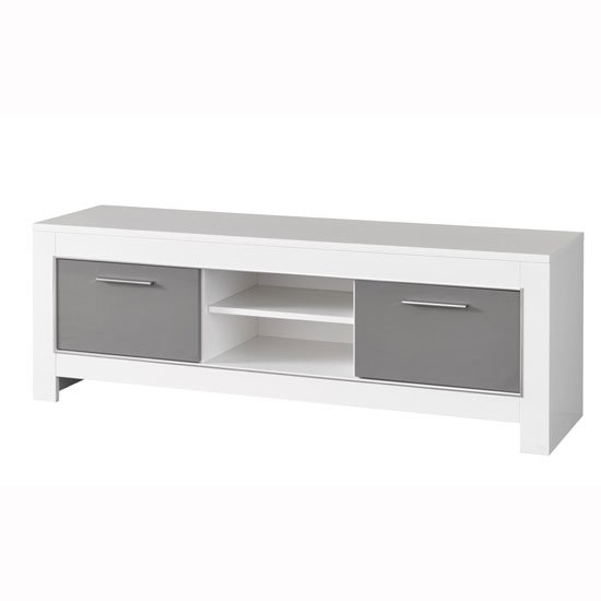 Lorenz Medium TV Stand In White And Grey High Gloss_2