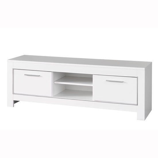 Lorenz Modern TV Stand In White High Gloss With 2 Doors