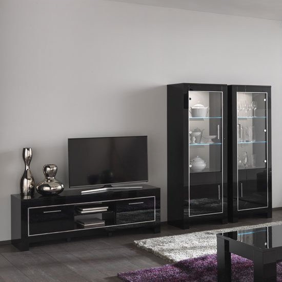 black high gloss furniture living room lorenz glass display cabinet in black high gloss with led 25401