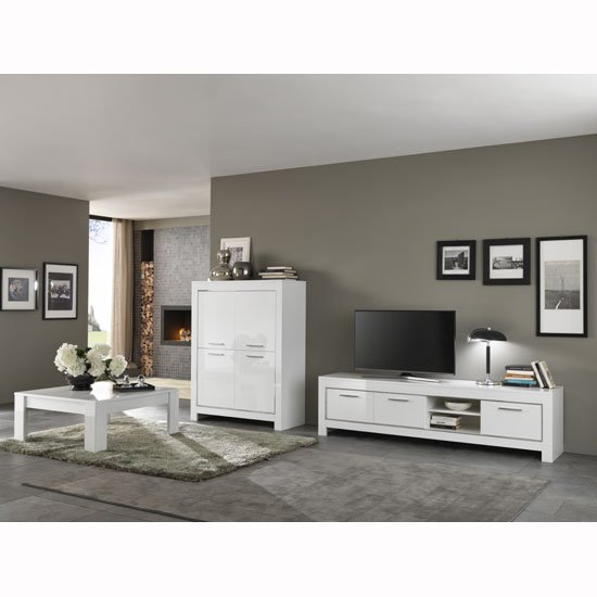 Lorenz Modern Bar Unit In White High Gloss With 4 Doors_2