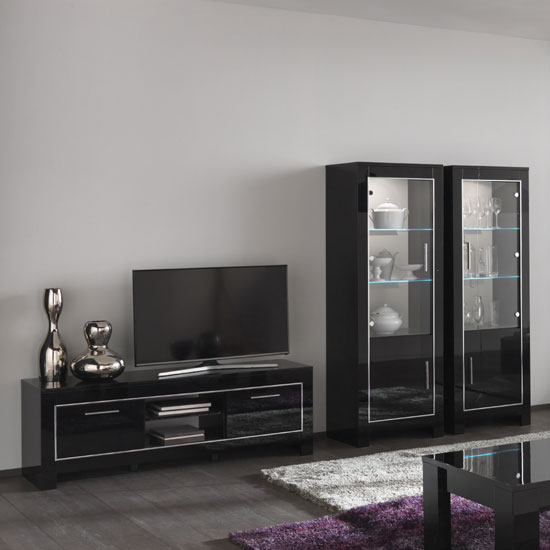 Lorenz living room set in black high gloss and led lights - High gloss black living room furniture ...