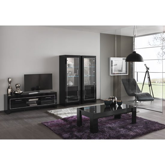 Lorenz Medium TV Stand In Black High Gloss With 2 Doors_2