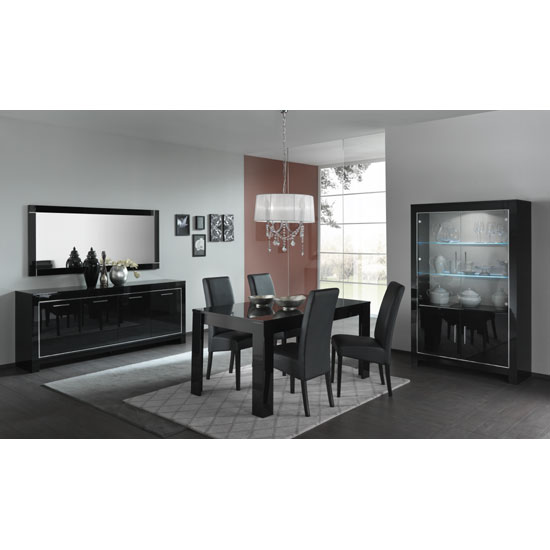 Lorenz Wide Glass Display Cabinet In Black High Gloss With LED_3