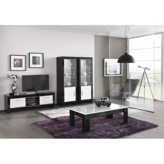 Abbey Coffee Table High Gloss White With 2 Pull Out Drawers: High Gloss Coffee Tables