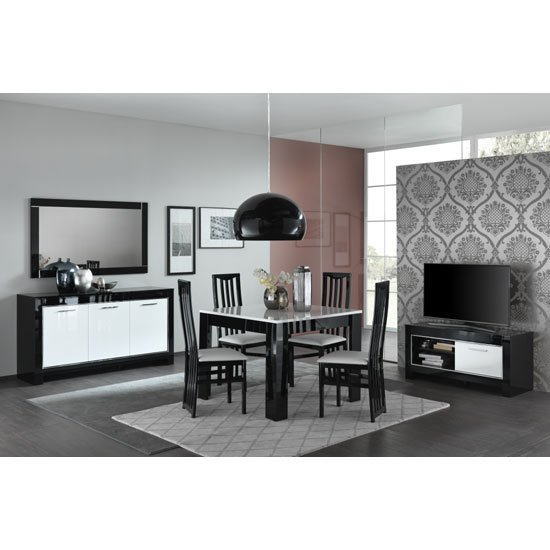 Lorenz Small TV Stand In Black And White High Gloss With 1 Door_3