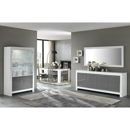 Lorenz Large Sideboard In White And Grey High Gloss With 4 Doors_3