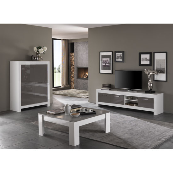 Lorenz Large TV Stand In White And Grey High Gloss_3