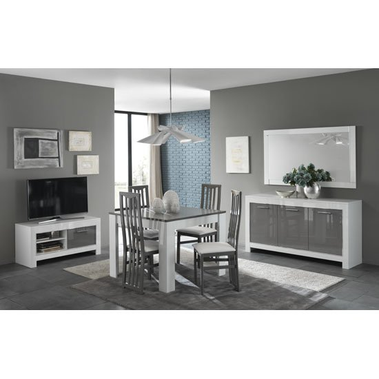 Lorenz Small TV Stand In White And Grey High Gloss_3