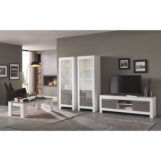 Lorenz Glass Display Cabinet In White And Grey Gloss With LED_3