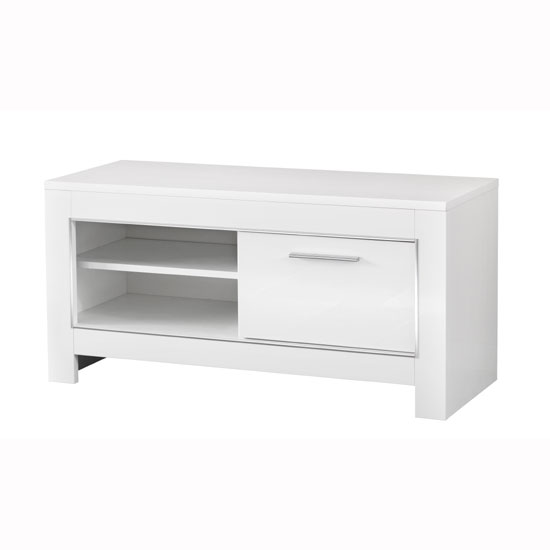 Lorenz Small TV Stand In White High Gloss With 1 Door