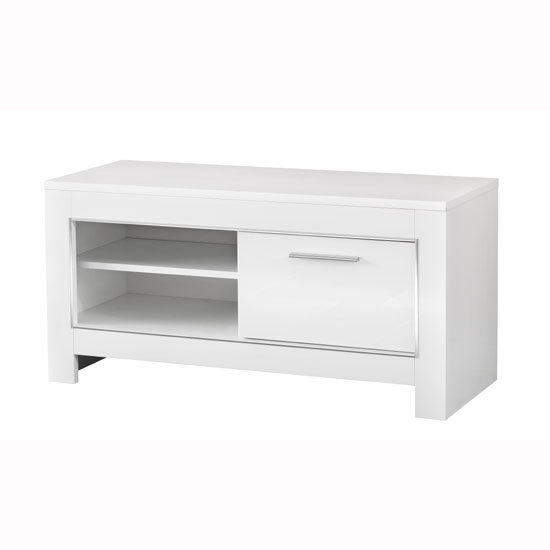 Lorenz Small TV Stand In White High Gloss With 1 Door_1