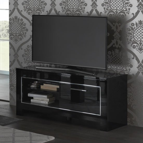Lorenz Small TV Stand In Black High Gloss With 1 Door