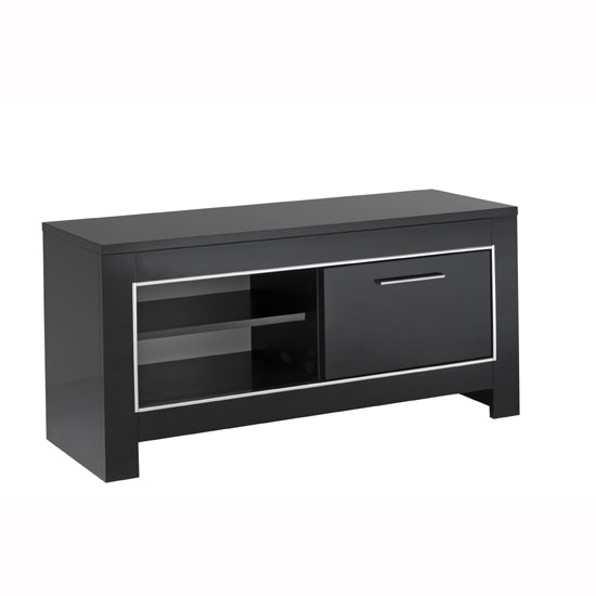 Lorenz Small TV Stand In Black High Gloss With 1 Door 29270