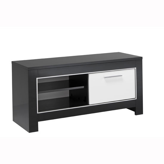 Lorenz Small TV Stand In Black And White High Gloss With 1 Door_2
