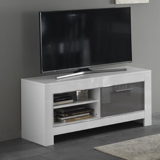 Lorenz Small Tv Stand In White And Grey High Gloss 29279