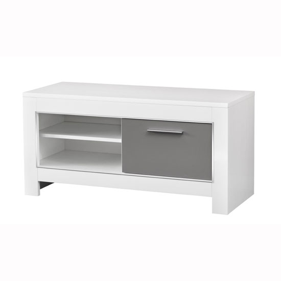 Lorenz Small TV Stand In White And Grey High Gloss_2