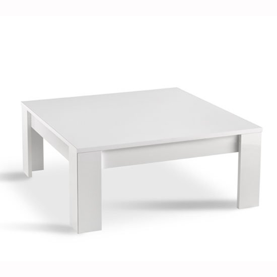 Elisa Coffee Table Square In High Gloss White With Storage: Lorenz Coffee Table Square In White High Gloss 29224