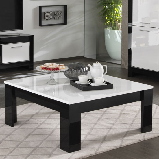 Lorenz Coffee Table Square In Black And White High Gloss