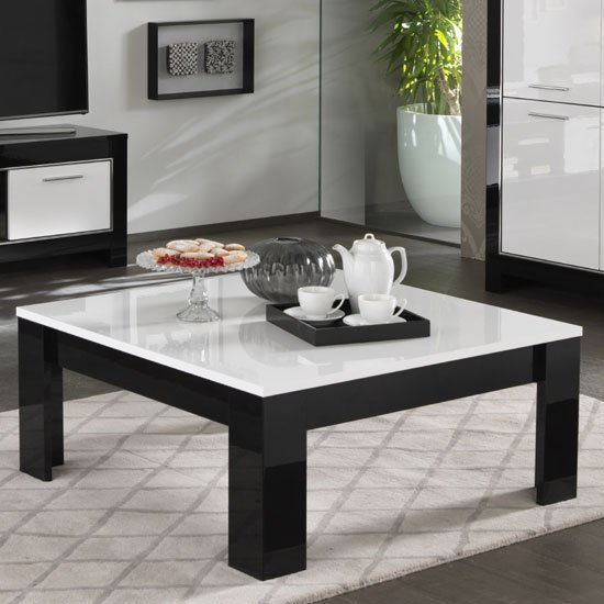 Black Couch And White Coffee Table: 29304-Lorenz Dining Table Square In Black And White High