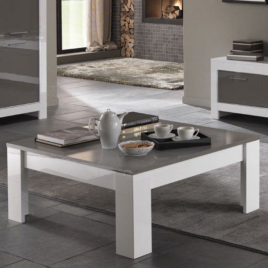 High Square Coffee Table: Lorenz Coffee Table Square In White And Grey High Gloss