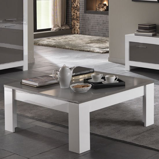 Square Coffee Table Grey: Lorenz Coffee Table Square In White And Grey High Gloss
