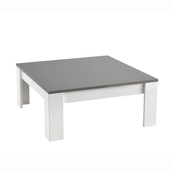 Grey High Gloss Coffee Table Uk: Lorenz Coffee Table Square In White And Grey High Gloss
