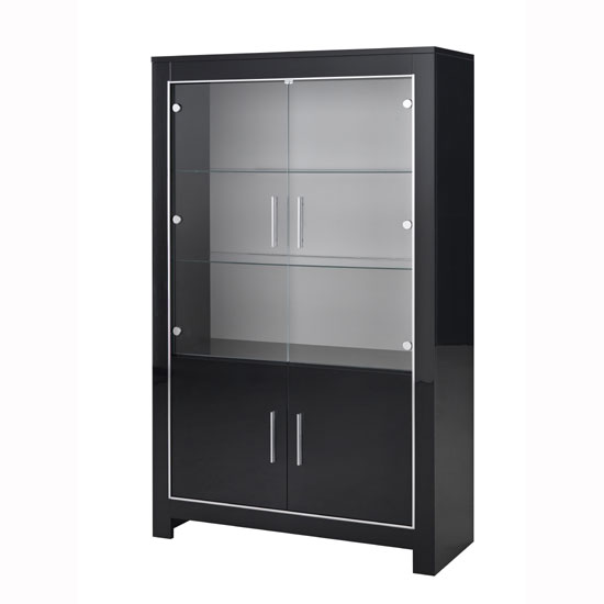 Lorenz Wide Glass Display Cabinet In Black High Gloss With LED_2