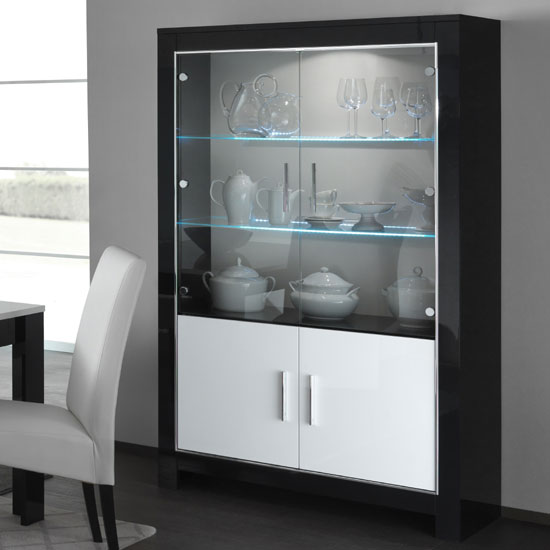 Lorenz Display Cabinet In Black And White High Gloss With LED