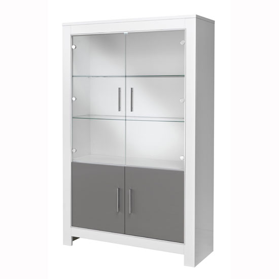 Lorenz Display Cabinet In White And Grey High Gloss With LED_2