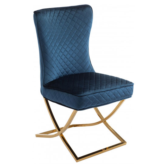 Lorenzo Blue Velvet Dining Chair With Gold Legs