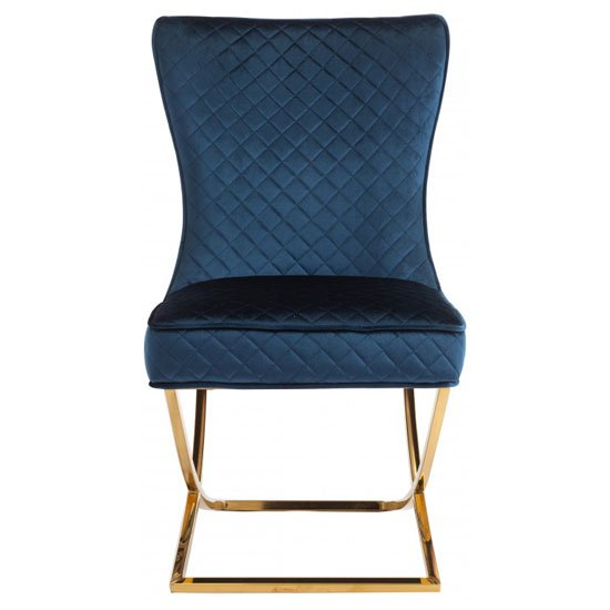 Lorenzo Blue Velvet Dining Chairs In Pair With Gold Legs_2