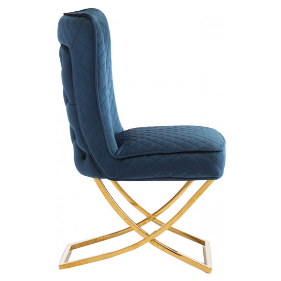 Lorenzo Blue Velvet Dining Chairs In Pair With Gold Legs_3