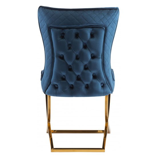 Lorenzo Blue Velvet Dining Chairs In Pair With Gold Legs_4