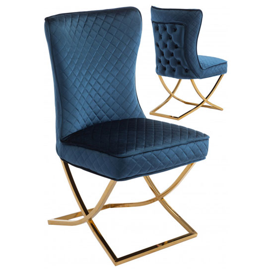 Lorenzo Blue Velvet Dining Chairs In Pair With Gold Legs_1