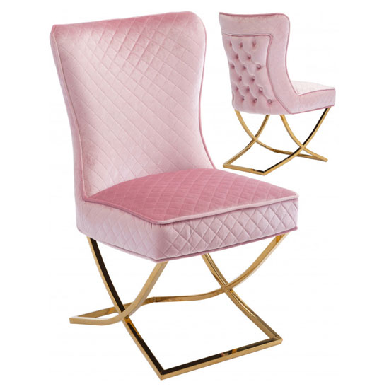 Lorenzo Pink Velvet Dining Chairs In Pair With Gold Legs