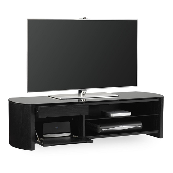 Lorraine Medium Wooden TV Cabinet In Black Oak With Black Glass