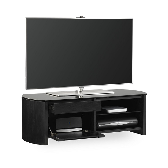Lorraine Small Wooden TV Cabinet In Black Oak With Black Glass