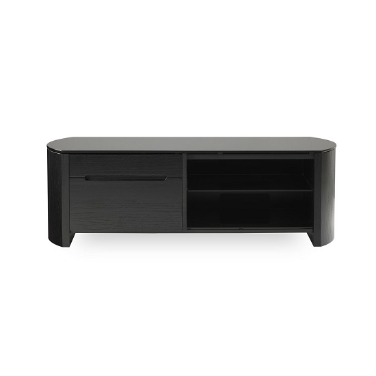 Lorraine Small Wooden TV Cabinet In Black Oak With Black Glass_3