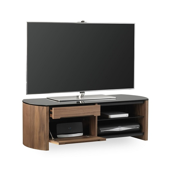 Lorraine Small Wooden TV Cabinet In Walnut With Black Glass